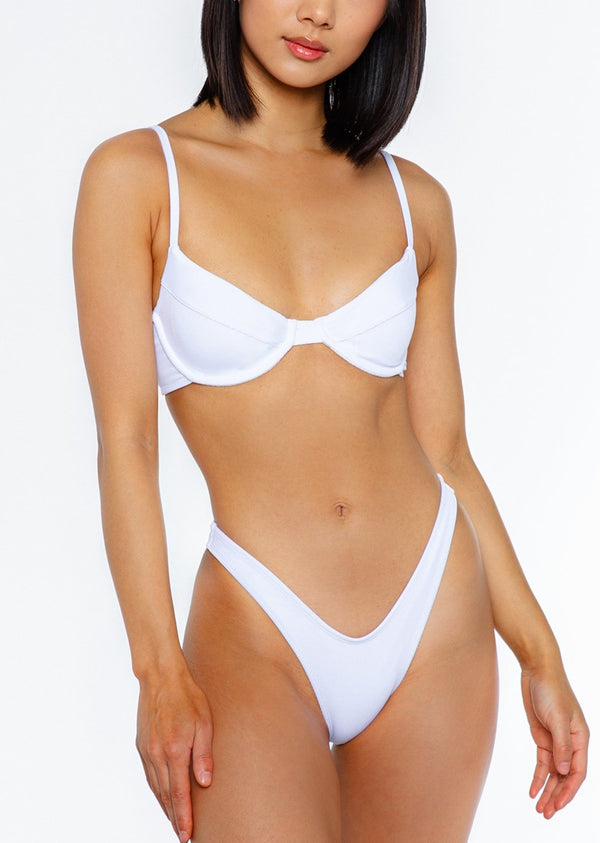 JASMINE BOTTOM / white ribbed