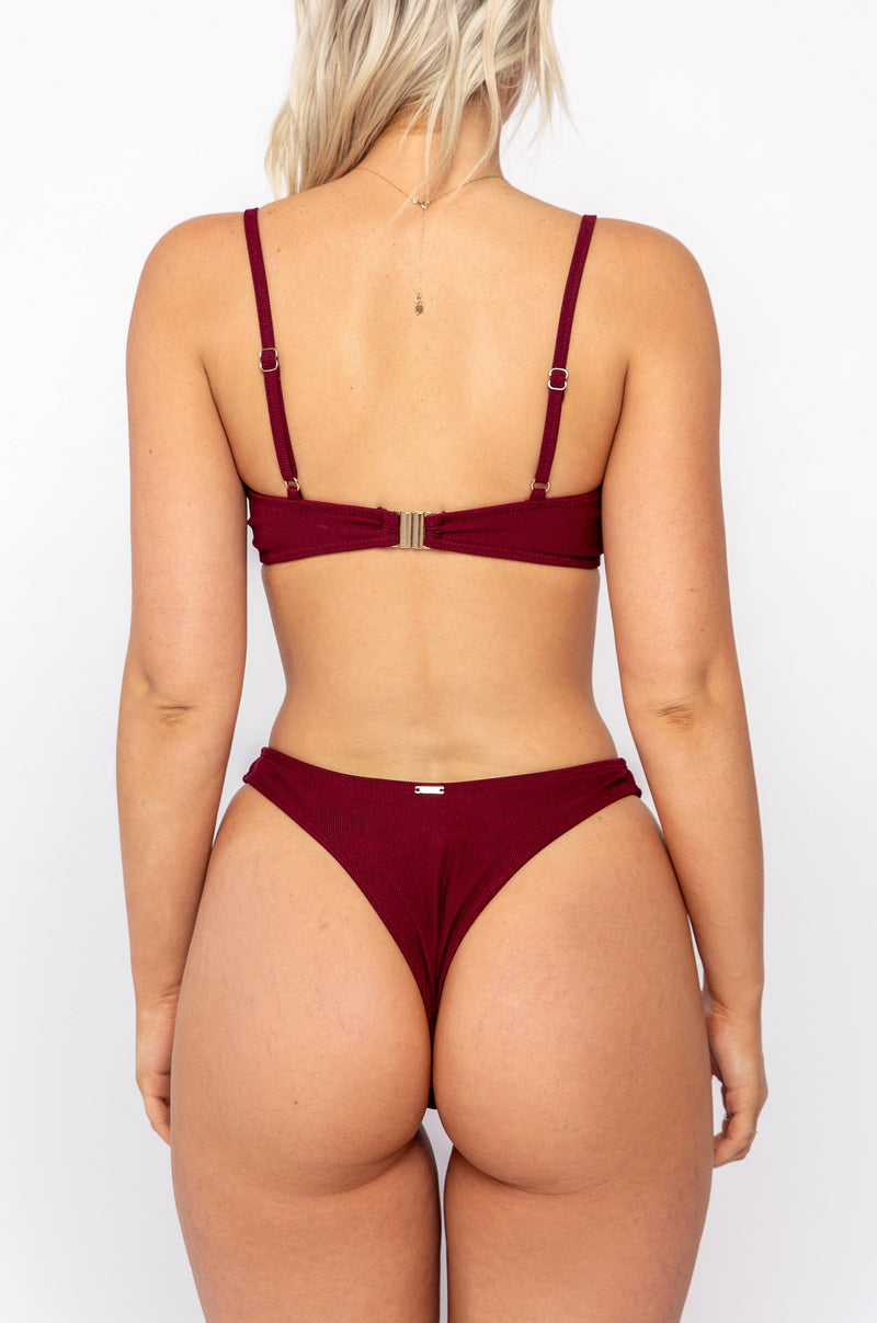 JASMINE BOTTOM / wine ribbed