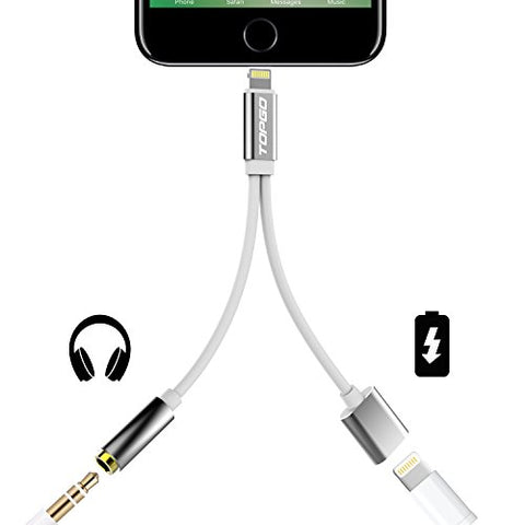 2 in 1 iPhone 7 Adapter(Compatible with iOS 10.3) TOPGO Lightning to Charger and Lightning to 3.5mm Aux Earphones Jack Cable for iPhone 7 / 7 Plus [No Calling Function & Music Control] - Silver