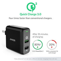 Anker Quick Charge 3.0 31.5W Dual USB Wall Charger, PowerPort 2 for Galaxy S7/S6/Edge/Plus, Note 5/4 and PowerIQ for iPhone X/8/7/6s/Plus, iPad Pro/Air 2/mini, LG, Nexus, HTC and More