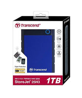 Transcend Military Drop Tested 1 TB USB 3.0 H3 External Hard Drive (TS1TSJ25H3B)