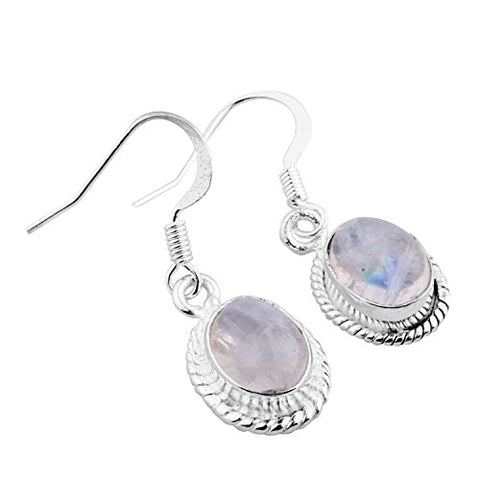 6.50ctw Genuine Rainbow Moonstone .925 Sterling Silver Overlay Handmade Fashion Earring Jewelry