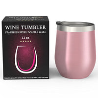CHILLOUT LIFE Stainless Steel Stemless Wine Glass Tumbler with Lid, 12/20 oz | Double Wall Vacuum Insulated Travel Tumbler Cup for Coffee, Wine, Cocktails, Ice Cream