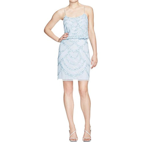 Aidan Mattox Women's Beaded Mesh Spaghetti Strap Blouson Dress Mist Blue Size 12
