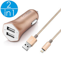 2in1 SEGMOI [Apple MFi Certified] 3Ft/1M Lightning Braided Cable + 3.4A Car Charger for iPhone X 8 8Plus 7 7 Plus 5 5S SE 6 6S 6Plus iPad 3 Air Pro Mini iPod (Car Kit-Gold)
