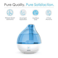 Pure Enrichment MistAire Ultrasonic Cool Mist Humidifier - Premium Humidifying Unit with Whisper-Quiet Operation, Automatic Shut-Off, and Night Light Function