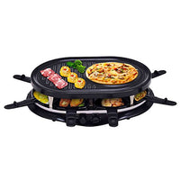 Costzon Raclette Grill for 8 People w/ Indicator Light, Adjustable Temperature Knob, Includes 8 Paddles and Spatulas, Non-Stick Grill Plate