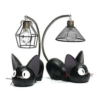 Kimkoala Kiki's Delivery Service Cats Figures, 2 Pcs Studio Ghibli Miyazaki Kiki's Delivery Service Black Cats With Night Lamp Action Figure Toys For Children Gift For Home Garden Decoration