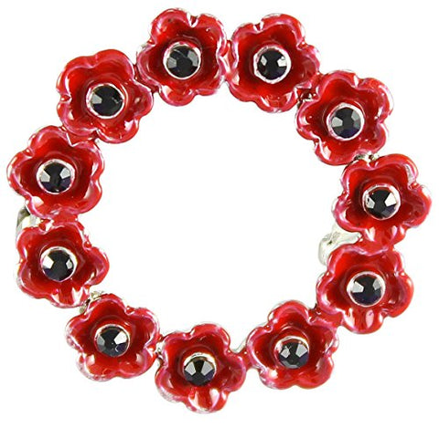 Angelys Memorial Remembrance Day Small Poppy Wreath Brooch P1005