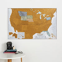 Maps International Scratch Off Map Of The US – USA Wall Map – Scratch Off – Detailed cartography - US States - National Parks - 34 x 22