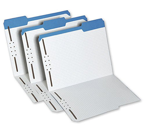 "ABC File Folder w/ Interior Grid 2 Fastener, 9 1/2"" X 11 5/8"", Blue - Pack of 50"