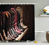 Ambesonne Western Decor Shower Curtain, Various Type of Fancy Rodeo Cowgirl Leather Boots Collection on Wood Plank Image, Fabric Bathroom Decor Set with Hooks, 84 Inches Extra Long, Brown