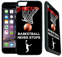 [TeleSkins] - iPhone 7 / iPhone 8 Rubber TPU Case -Basketball Never Stops - Ultra Durable Slim Fit, Protective Plastic with Soft RUBBER TPU Snap On Back Case / Cover. Fits (4.7 inch only)