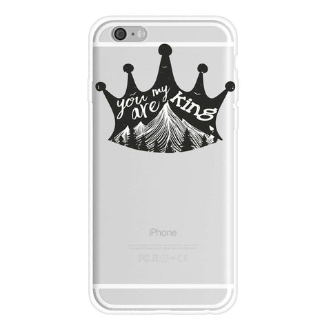 1 iPhone 7 Plus Case You Are My King Couple Matching Stuff iPhone Cases-Princess & Prince Boy & Girl Clear Rubber Couple iPhone 7 Plus Case