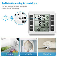 AMIR Refrigerator Thermometer, Wireless Indoor Outdoor Digital Freezer Thermometer, Sensor Temperature Monitor with Audible Alarm Temperature Gauge for Freezer (Battery not Included)