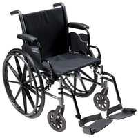 Drive Medical Cruiser III Light Weight Wheelchair with Various Flip Back Arm Styles and Front Rigging Options, Black, 20""