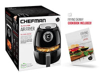 Chefman 3.5 Liter Air Fryer with Space Saving Flat Basket Non-Stick Oil Free Airfryer, 30 Minute Timer, Auto Shutoff and Dishwasher Safe Parts-Recipe Booklet Included, Large Capacity, Black