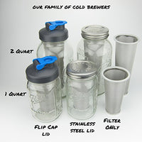 Cold Brew Coffee Maker - 2 Quart - Make Amazing Cold Brew Coffee and Tea with This Durable Mason Jar with Stainless Steel Filter and Stainless Steel Lid