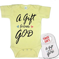 """ A Gift From God ""Cute Custom boutique Baby bodysuit onesie & matching bib"