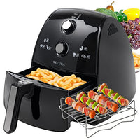 Secura 4 Liter, 4.2 Qt, Extra Large Capacity 1500 Watt Electric Hot Air Fryer and additional accessories; Recipes,Toaster rack and Skewers