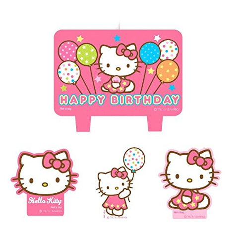 "Amscan Party Time Hello Kitty Balloon Dreams Molded Mini Character Birthday Candle Set, Pack of 4, Pink, 1.3"" Wax"