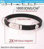 Anti EMF (Anti Radiation) FDA Approved Performance Wristband, Tourmaline and Germanium, 1800 Ions, 2 Magnets 1000 Gauss, Improves Energy and Strength, Relieves Joint Pain, Improves Sleep Quality Sleep Aid, Increases Physical Performance