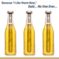 """Worlds Coolest Dad"" Engraved on Brew House Beer Chillers, Dad's Edition - Original Boxed Gift Set for Men - 2 Stainless Steel Drink Chiller Sticks Keep Bottled Drinks Cold - Made Only by Arron Kelly"