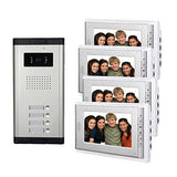 AMOCAM Video Door Phone Intercom System, Wired Doorbell Kits, 1 Night Vision Camera 3 screen, 7inch LCD Monitor, Support 3 Units Apartment, Monitoring, Unlock, Dual way Door Talking