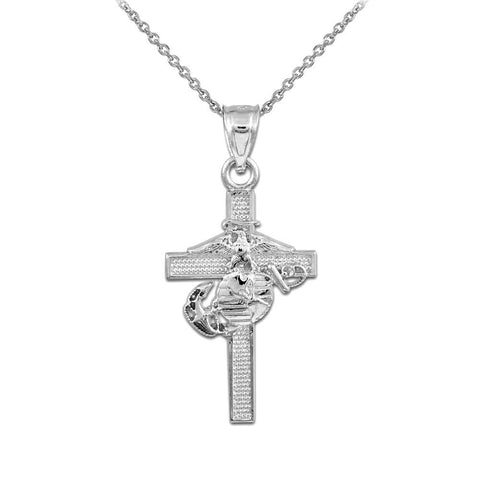 925 Sterling Silver US Marine Corps Medium Military Cross Pendant Necklace