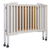 Dream On Me Full Size 2 in 1 Folding Stationary Side Crib With Wheels
