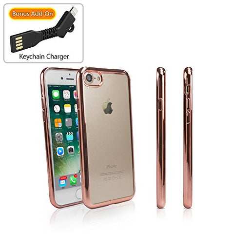 Apple iPhone 7 Case, BoxWave [GlamLux Case with BONUS Keychain Charger] Durable Case with Metallic Colored Trim for Apple iPhone 7 - Rose Gold