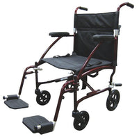 Drive Medical Fly Lite Ultra Lightweight Transport Wheelchair, Black Frame, 19""