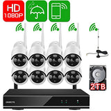 [1080P HD Auto-Pair] ONWOTE 8 Channel 1080P Outdoor Wireless Home Security Surveillance Camera System with 2TB Hard Drive and 8 Pcs 2 Megapixels 80ft IR Night Vision WiFi IP Cameras (Built-in Router)