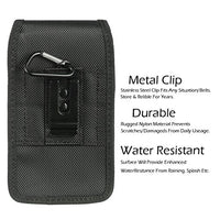 Samsung Galaxy S9 / S8 / S7 / S6 / S5 [AIScell] Extra Large Holster Vertical / Horizontal Rugged Nylon Pouch Metal Belt Clip Pouch+Carabiner 6.60''x3.75''x0.80'' Great fits with thick protective cover