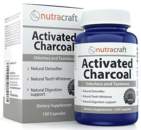 Activated Charcoal Capsules For Teeth Whitening, Gas, Hangovers & Detox - Double Strength With 900mg per Serve - 100% Tasteless, Odourless & Natural - 100 Pills - Made In USA