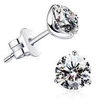 """STUNNING FLAME"" 18K Gold Plated Silver Brilliant Cut Simulated Diamond CZ Stud Earrings"