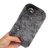 Aikeduo For Plus Iphone 6plus 6s+ plus 5.5 Inch Case, Handmade Luxury Bling Crystal Rabbit Fur Rhinestone Pendant Leather Cover Warm Case (white)
