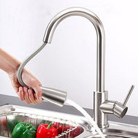 "Yaheetech 16"" Brushed Nickel Kitchen Sink Faucet Pull Out Down Dual-Spray Swivel Spout"