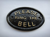 """Please Ring The Bell"" House/Garden Wall Plaque in (Black)"