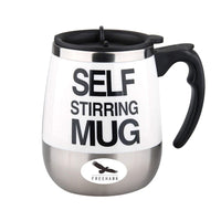 Freehawk Hot Sale Novelty Automatic Electric Stirring Coffee Mug Double Layer Stainless Steel Self Stirring Auto Coffee Mugs Self Mixing Cup for Morning, Office, Travelling in White (450ml/15.2oz)