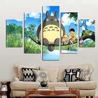 PEACOCK JEWELS Premium Quality Canvas Printed Wall Art Poster 5 Pieces/5 Pannel Wall Decor Miyazaki Hayao Totoro Painting, Home Decor Pictures - Stretched
