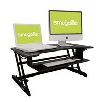 Standing Desk Converter Riser Adjustable (Dual Monitors, Black)