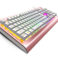 [LED Version] OJA Backlit Rainbow LED keyboard with Mechanical feeling Gaming keyboard 104 key for Office industrial Computer (Rose Gold)
