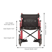 "NOVA Medical Products 22"" Heavy Duty Transport Wheelchair, Red"