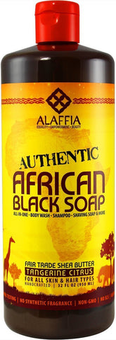 Alaffia - Authentic African Black Soap, Tangerine Citrus, 32 Ounces