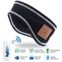 Rotibox Ultra Slim Running Bluetooth Headband Sweatband Speakerphone Headphone Headset Earpiece with Wireless Speaker & Mic Hands-free for Outdoor Sports Jogging Hiking Skiing,Christmas Gifts - Black