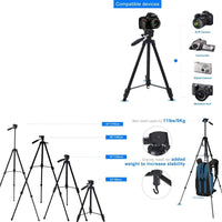 125cm 50-Inch Aluminum Portable Camera Tripod Stand Holder Adjustable Rotatable Retractable Aluminum Tripods Smartphones Mount for iPhone 7 8 6s 6 Plus Samsung Galaxy S7 S8 LG G6 V20 Stylus Moblie