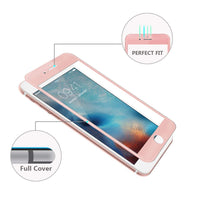 (Pack of 2) iPhone 7 8 Screen Protector, Akwox Full Cover iPhone 7 8 Tempered Glass Screen Protector with ABS Curved Edge Frame, Anti-Fingerprint HD Screen Protector for Apple iPhone 7 8(Rose gold)
