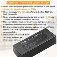 ZOZO 90W 15V 16V 18.5V 19V 19.5V 20V AC Laptop Power Adapter Charger Multi Tips for HP Dell Toshiba IBM Lenovo Acer ASUS Samsung Sony Fujitsu Gateway Notebook Ultrabook Chromebook Supply Cords
