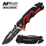 "8"" Fire Fighter Red MTECH SPRING ASSISTED FOLDING KNIFE Blade pocket open switch- Firefighter Rescue Pocket Knife - hunting knives, military surplus - survival and camping gear"